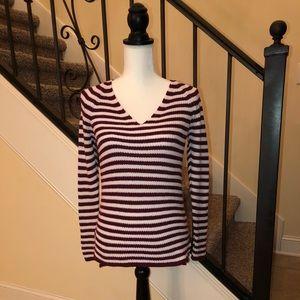 Burgundy & Cream Tunic Sweater XS